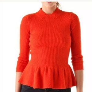 Tory Burch Madeline Peplum wool sweater Orange S